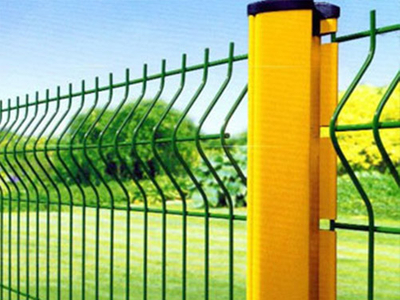 Welded Wire Mesh Fence Panel With Curve and Peach Post